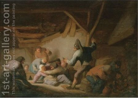 Peasants Brawling In A Tavern by Adriaen Jansz. Van Ostade - Reproduction Oil Painting