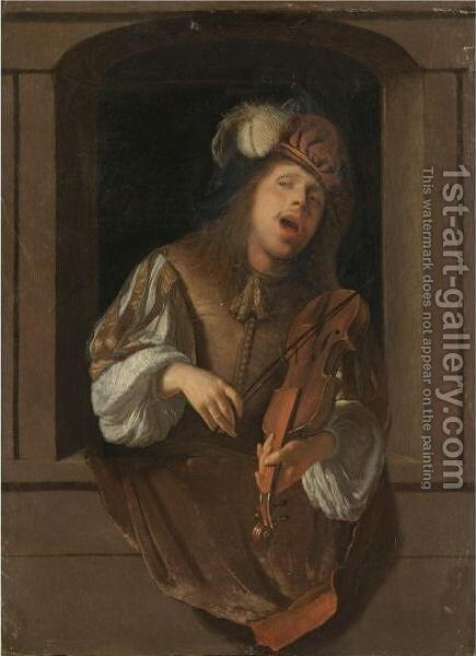 A Singing Violinist, Probably A Self-Portrait, Set Within A Niche by Jacob Ochtervelt - Reproduction Oil Painting