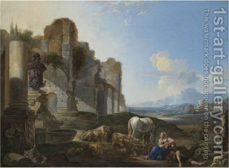 Italian Landscape With A Shepherdess And Ruins by Anthonie Goubau - Reproduction Oil Painting