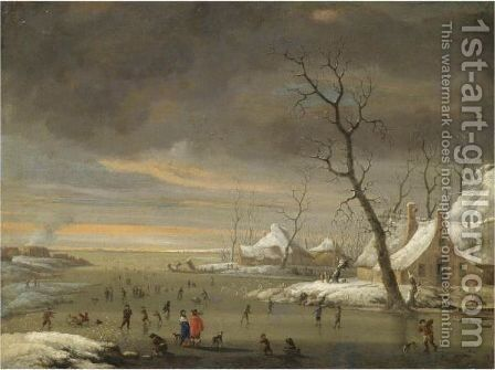 An Extensive Winter Landscape With Skaters On A Frozen River by Jan Abrahamsz. Beerstraaten - Reproduction Oil Painting