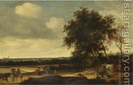 A Landscape With Cavaliers In The Foreground, A Church Beyond by Jacob Salomonsz. Ruysdael - Reproduction Oil Painting