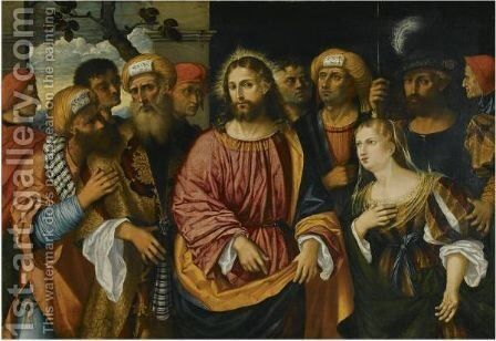 Christ And The Woman Taken In Adultery by (after) Rocco Marconi - Reproduction Oil Painting