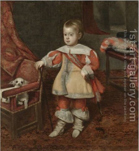 Portrait Of Principe Don Felipe Prospero (1657-1661), Son Of Philip IV Of Spain by (after) Juan Bautista Martinez Del Mazo - Reproduction Oil Painting