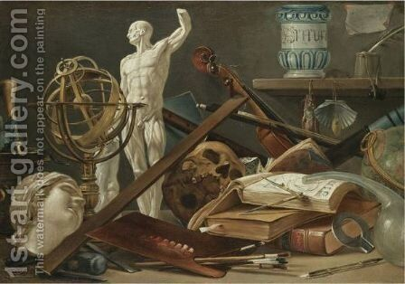 A Vanitas Still Life With An Adder In A Pestle And Mortar, A Sculpted Head, An Astrolobe, by Antonio Cioci or Ciocchi - Reproduction Oil Painting