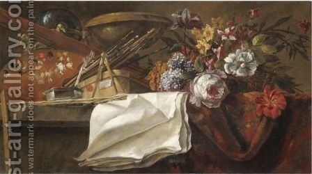 Still Life With Artist's Materials, Including A Used Palette And A Series Of Brushes by (after) Jean-Baptiste Monnoyer - Reproduction Oil Painting
