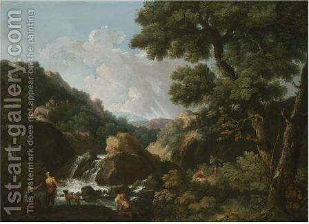 A Wooded River Landscape With Fishermen by Andrea Locatelli - Reproduction Oil Painting