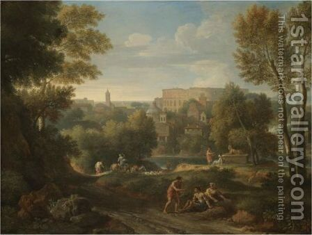 A View Of The Roman Campagna With The Colosseum Beyond by Jan Frans van Orizzonte (see Bloemen) - Reproduction Oil Painting