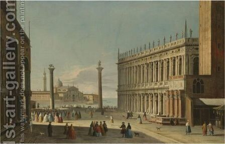 A View Of The Piazzetta Looking Out Towards The Bacino Di San Marco by Apollonio Domenichini - Reproduction Oil Painting