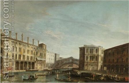 A View Of The Grand Canal Looking South Towards The Rialto Bridge by Apollonio Domenichini - Reproduction Oil Painting