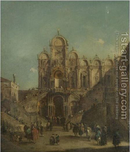 Venice, A View Of The Campo San Zanipolo With The Loggia Temporarily Erected Outside The Scuola Di San Marco For The Benediction Of Pope Pius VI On 19th May 1782 by (after) Francesco Guardi - Reproduction Oil Painting