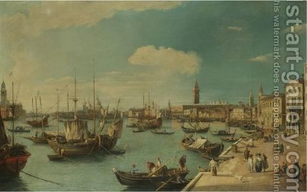 Venice, A View Along The Riva Degli Schiavoni Looking West With The Dogana And The Church Of Santa Maria Della Salute In The Distance, And The Church Of San Giorgio Maggiore At The Extreme Left by (after) (Giovanni Antonio Canal) Canaletto - Reproduction Oil Painting