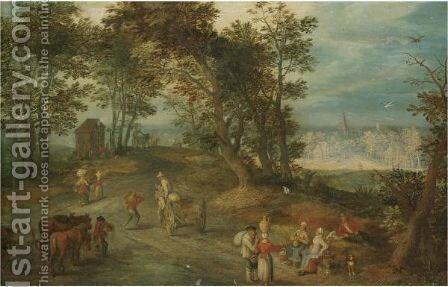 Antwerplandscape With Figures On A Road Through A Wood by (after) Jan The Elder Brueghel - Reproduction Oil Painting