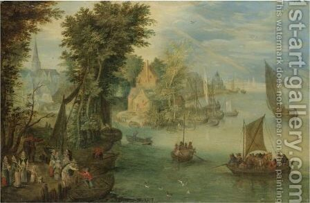 River Landscape With Figures On A Quay Before A Town by (after) Jan The Elder Brueghel - Reproduction Oil Painting
