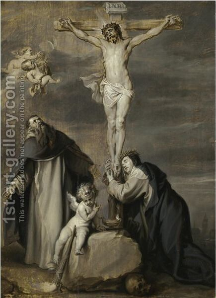 The Crucified Christ Adored By Saints Dominic And Catherine Of Siena by Sir Anthony Van Dyck - Reproduction Oil Painting