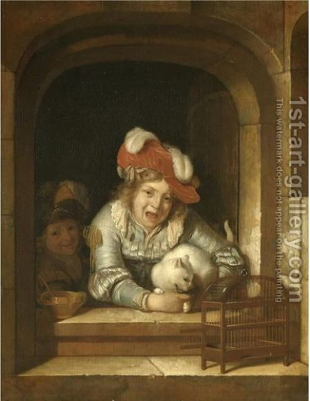 Two Children Playing With A Cat Holding A Bird In Its Jaws by Adriaen Van Der Werff - Reproduction Oil Painting