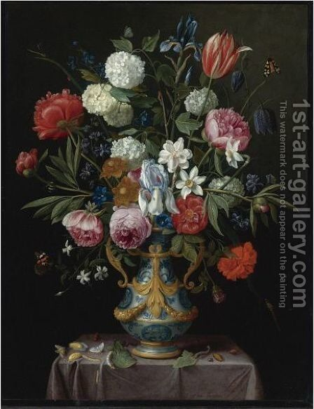 Still Life Of Irises, Peonies, Narcissi, A Tulip And Other Flowers In A Blue-And-White Porcelain Vase by Jan van Kessel - Reproduction Oil Painting
