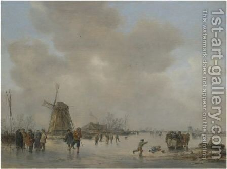 Winter Landscape With Skaters And Golfers On A Frozen River Near A Windmill by Jan van Goyen - Reproduction Oil Painting