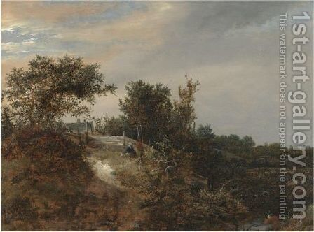 A Landscape With Two Figures On A Rise And A Stream At Right by Jacob Van Ruisdael - Reproduction Oil Painting