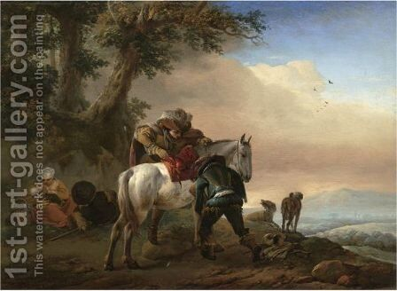 A Huntsman Saddling His Horse, An Extensive Landscape Beyond by Philips Wouwerman - Reproduction Oil Painting