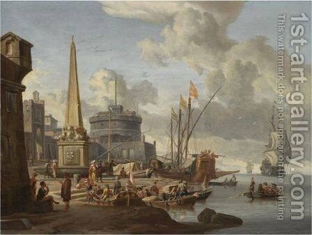 A Fortified Mediterranean Port With An Obelisk And A Galley Moored Nearby by Abraham Storck - Reproduction Oil Painting
