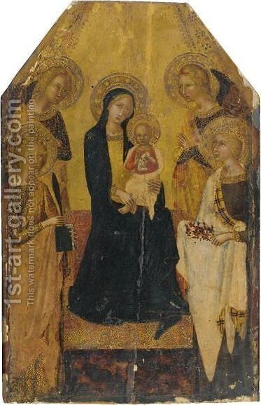 The Madonna And Child Enthroned Flanked By Saints Catherine And Dorothy With Two Angels by Sienese School - Reproduction Oil Painting