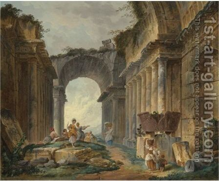 Washerwomen And Peasants Resting Amongst Ancient Ruins by Hubert Robert - Reproduction Oil Painting