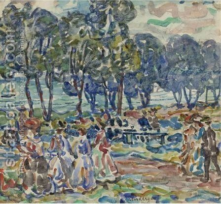 Figures In A Park by Maurice Brazil Prendergast - Reproduction Oil Painting