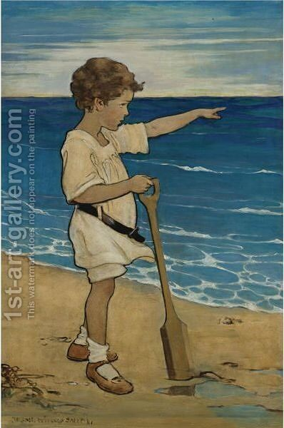 Daddy's Over There by Jessie Willcox Smith - Reproduction Oil Painting
