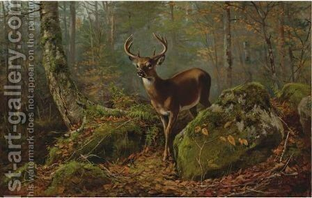 Buck In The Forest by Arthur Fitzwilliam Tait - Reproduction Oil Painting