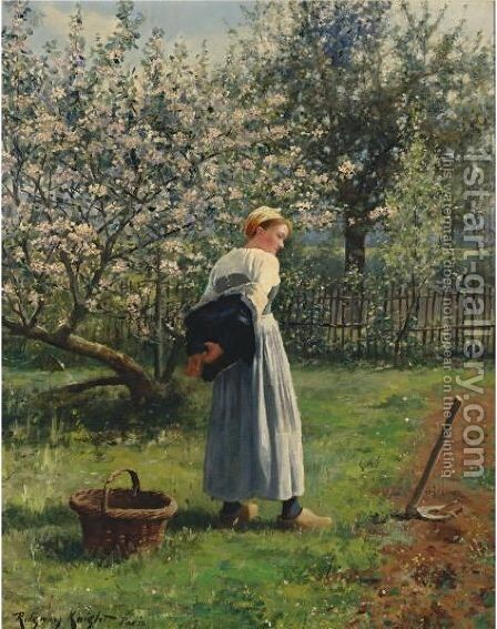 In The Orchard by Daniel Ridgway Knight - Reproduction Oil Painting