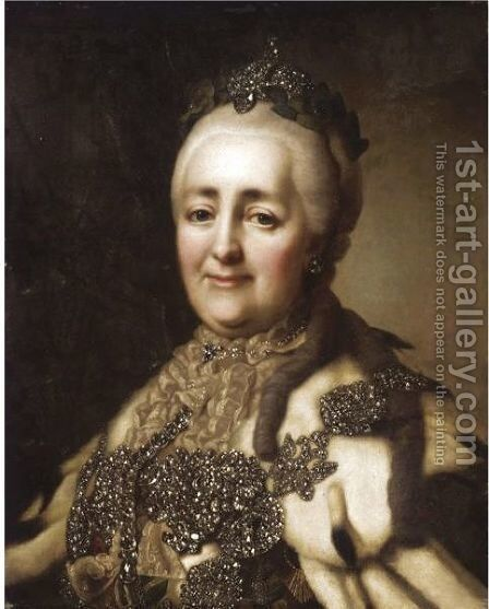 Portrait Of Catherine The Great by (after) Alexander Roslin - Reproduction Oil Painting