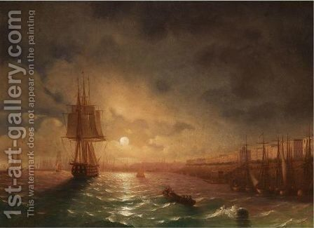 View Of Odessa On A Moonlit Night by (after) Ivan Konstantinovich Aivazovsky - Reproduction Oil Painting