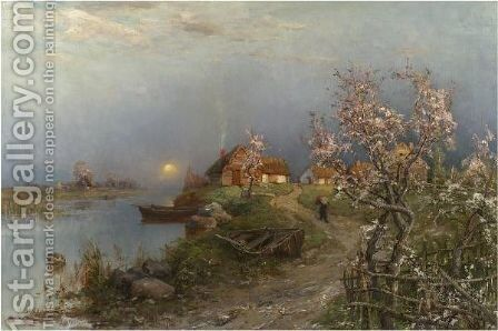 Dusk On The River Aa by Iulii Iul'evich (Julius) Klever - Reproduction Oil Painting