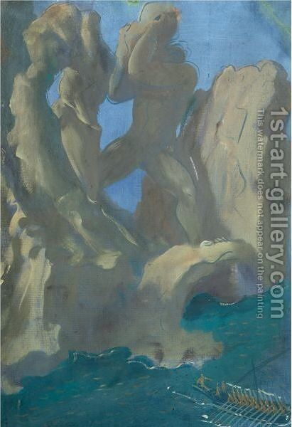 Polyphemus Throwing Boulders by Alexander Evgenievich Yakovlev - Reproduction Oil Painting