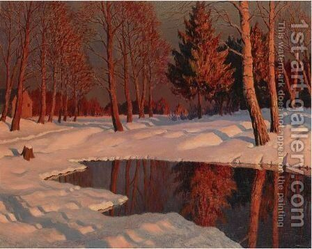 Winter Sun by Mikhail Markianovich Germachev - Reproduction Oil Painting