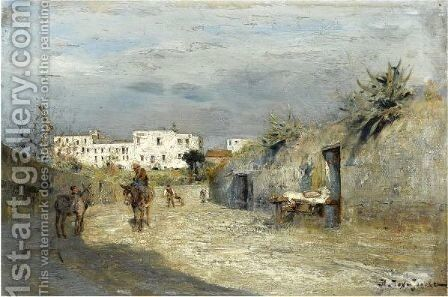 Street In The South Of France by Ivan Pavlovich Pokhitonov - Reproduction Oil Painting