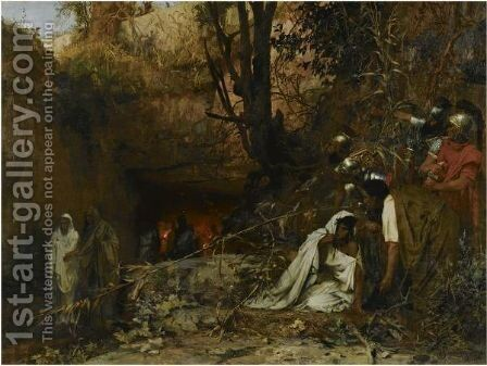 Christian Persecutors At The Entrance To The Catacombs by Henri Ippolitovich Semiradsky - Reproduction Oil Painting