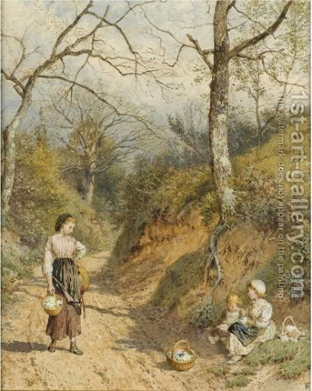 The Primrose Gatherers by Myles Birket Foster - Reproduction Oil Painting