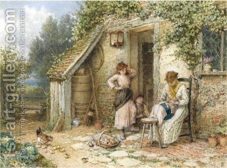 The Lace Maker by Myles Birket Foster - Reproduction Oil Painting