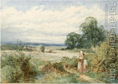 Harvesting At Eversholt, Bedfordshire by Henry John Sylvester Stannard - Reproduction Oil Painting
