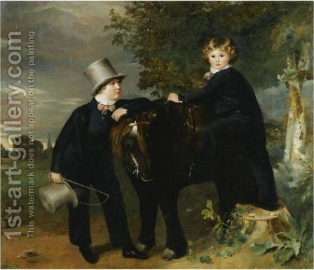Portrait Of James Arthur Taylor (1817-1889) And His Brother, John Samuel (1819-1831) by (after) Ramsay Richard Reinagle - Reproduction Oil Painting
