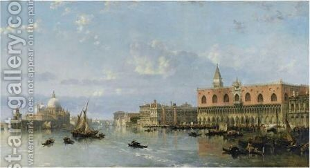 View Of The Doge's Palace And The Piazzetta, Venice, With Santa Maria Della Salute To The Left by David Roberts - Reproduction Oil Painting