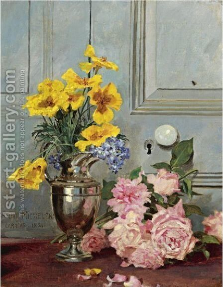Still Life With Pink Roses by Arturo Michelena - Reproduction Oil Painting