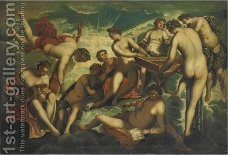 Le Nove Muse by Jacopo Tintoretto (Robusti) - Reproduction Oil Painting