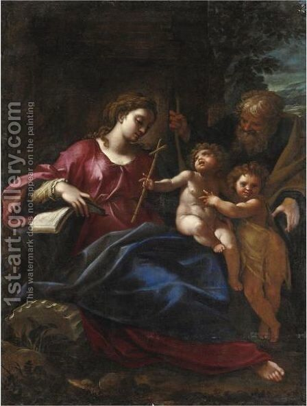 Sacra Famiglia Con San Giovannino by Cristoforo Pomarancio (Roncalli) - Reproduction Oil Painting