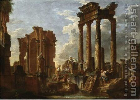 Capriccio Architettonico Con Figure E Soldati, Una Statua E Un Bassorilievo by Giovanni Paolo Panini - Reproduction Oil Painting