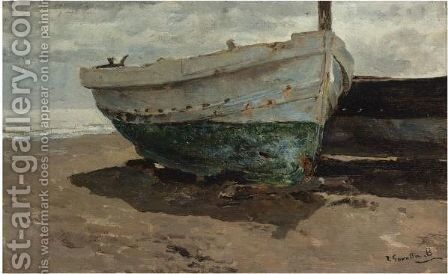 Barcas En La Playa (Boats On The Beach) 2 by Joaquin Sorolla y Bastida - Reproduction Oil Painting