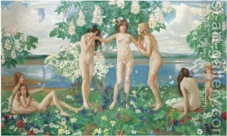 The Three Graces by J. Franklin Kershaw - Reproduction Oil Painting