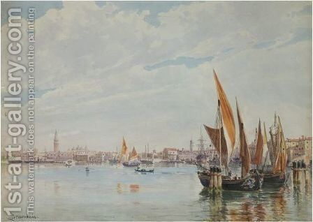 Boats On The Lagoon With The Doge's Palace In The Distance by Antonietta Brandeis - Reproduction Oil Painting