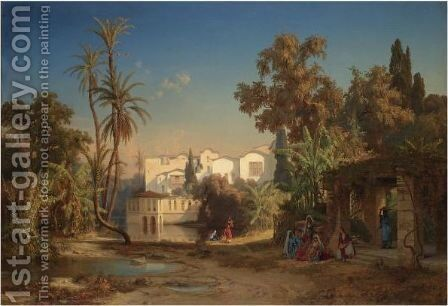 Noon Day Rest In The Oasis by Max Schmidt - Reproduction Oil Painting